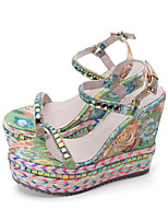 cheap -Women's Sandals Wedge Heel Peep Toe Roman Shoes Daily Elastic Fabric Floral Green