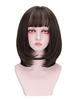 cheap -Synthetic Wig Curly With Bangs Wig Medium Length Brown Black Synthetic Hair 14 inch Women's French Braid Hairstyle Comfy Fluffy Black Brown