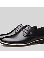cheap -Men's Oxfords Business Casual Daily Office & Career Walking Shoes Cowhide Breathable Non-slipping Shock Absorbing Black Brown Spring Fall