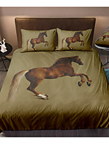 cheap -Brown Horse 3-Piece Duvet Cover Set Hotel Bedding Sets Comforter Cover with Soft Lightweight Microfiber(Include 1 Duvet Cover and 1or 2 Pillowcases)