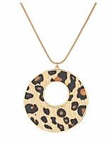 cheap -leopard print pendant necklace long necklace for women cheetah leopard leather jewelry (round pendant)