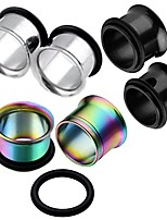 cheap -6pcs mix-color gauges set stainless steel single flared ear tunnels plugs stretcher jewelry 4g