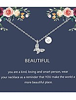cheap -butterfly necklace initial letter pendant necklace with message card butterfly jewelry gifts for women girls (m)