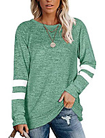 cheap -womens crewneck-sweaters striped-print colorblock sweatshirts - long sleeve tunic tops (green, s)