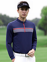 cheap -Men's Golf Polo Shirts Long Sleeve Breathable Quick Dry Soft Sports Outdoor Autumn / Fall Spring Winter Spandex Half Zip Stripes Dark Navy / Stretchy