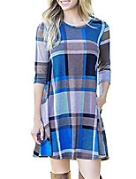 cheap -women's long sleeve plaid casual loose tunic swing dress with pockets