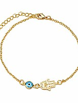 """cheap -handmade sideways hanging evil eye hamsa hand charm anklet for women teen girls, dainty 14k real gold plated ankle bracelet with 2"""" extension, minimalist jewelry waterproof and not tarnish (sideways)"""