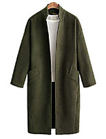 cheap -women' stand collar open front windproof elegant midi long wool coat (x-small, army green)