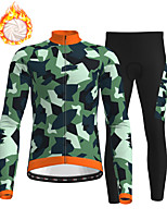 cheap -21Grams Men's Long Sleeve Cycling Jersey with Tights Winter Fleece Polyester Green Camo / Camouflage Bike Clothing Suit Fleece Lining Breathable 3D Pad Warm Quick Dry Sports Graphic Mountain Bike MTB