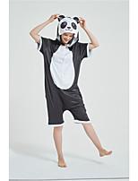 cheap -Adults' Kigurumi Pajamas Panda Onesie Pajamas Pure Cotton Black Cosplay For Men and Women Animal Sleepwear Cartoon Festival / Holiday Costumes