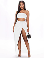 cheap -Women's Two Piece Dress Maxi long Dress - Sleeveless Solid Color Backless Split Patchwork Summer Strapless Elegant Sexy 2020 White Black Purple Blushing Pink S M L XL