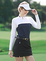 cheap -Women's Golf Tee Tshirt Zip Top Long Sleeve Breathable Quick Dry Soft Sports Outdoor Autumn / Fall Spring Winter Half Zip Red Dark Navy / Stretchy
