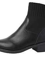 cheap -Women's Boots Block Heel Round Toe Booties Ankle Boots Casual Daily Walking Shoes PU Solid Colored Black / Mid-Calf Boots