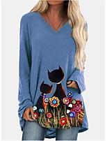 cheap -Women's T shirt Dress Tunic T shirt Cat Long Sleeve Print V Neck Tops Basic Basic Top Blue Green
