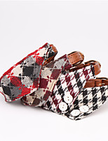 cheap -Dog Collar Adjustable Retractable Durable Outdoor Walking Plaid / Check Classic PU Leather Small Dog Medium Dog Black Red Dark Red Brown 1pc