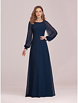 cheap -A-Line Empire Elegant Party Wear Formal Evening Dress Jewel Neck Long Sleeve Floor Length Chiffon with Sleek 2020