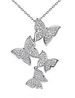 cheap -925 silver long zircon butterfly necklaces pendant fashion sterling silver jewelry statement chain necklace for women ladies girls gifts rose gold