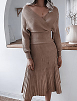 cheap -Women's Two Piece Dress Midi Dress - Long Sleeve Solid Color Patchwork Spring Fall Off Shoulder Elegant Casual 2020 Blushing Pink Wine Khaki One-Size