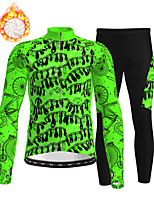 cheap -21Grams Men's Long Sleeve Cycling Jersey with Tights Winter Fleece Polyester Green Bike Clothing Suit Thermal Warm Fleece Lining Breathable 3D Pad Warm Sports Printed Mountain Bike MTB Road Bike