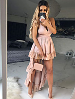 cheap -Women's Strap Dress Maxi long Dress - Sleeveless Solid Color Plus High Low Summer V Neck Elegant Sexy 2020 Blue Blushing Pink S M L XL