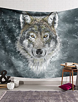 cheap -Wall Tapestry Art Deco Blanket Curtain Hanging Home Bedroom Living Room Dormitory Decoration Polyester Fiber Animal Painted Gray Wolf