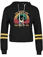 cheap -womens my hero academia crop hoodie fashion anime print long sleeve casual sweatshirt tops short hoodie stripe sleeve print sweater(s casual black)