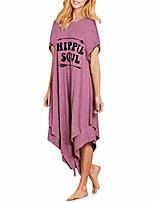 cheap -handyulong women's casual dresses for summer short sleeve hippie letter print irregular midi dress shift dress sundress purple