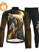 cheap -21Grams Men's Long Sleeve Cycling Jersey with Tights Winter Fleece Polyester Dark Green Animal Wolf Bike Clothing Suit Fleece Lining Breathable 3D Pad Warm Quick Dry Sports Graphic Mountain Bike MTB