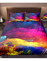 cheap -Colorful Clouds 3-Piece Duvet Cover Set Hotel Bedding Sets Comforter Cover with Soft Lightweight Microfiber, Include 1 Duvet Cover, 2 Pillowcases for Double/Queen/King(1 Pillowcase for Twin/Single)