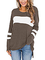 cheap -womens long sleeve tops crew neck tunics casual elegant stripped shirts brown