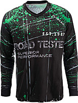 cheap -21Grams Men's Long Sleeve Downhill Jersey Spandex Black Bike Jersey Top Mountain Bike MTB Road Bike Cycling Quick Dry Sports Clothing Apparel / Stretchy