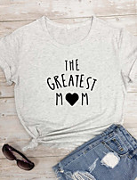 cheap -Women's T-shirt Heart Graphic Prints Letter Print Round Neck Tops 100% Cotton Basic Basic Top White Black Purple