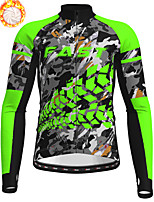 cheap -21Grams Men's Long Sleeve Cycling Jersey Winter Fleece Polyester Blue Orange Green Camo / Camouflage Animal Bike Jersey Top Mountain Bike MTB Road Bike Cycling Fleece Lining Breathable Warm Sports