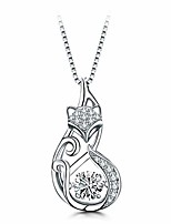 cheap -925 sterling silver cat fox swan pendant necklace with dancing diamond stone cubic zirconia birthday gift for women girls