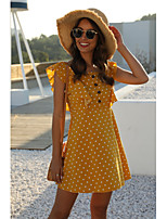 cheap -Women's A-Line Dress Short Mini Dress - Sleeveless Polka Dot Patchwork Print Spring Summer Casual Vintage 2020 Yellow S M L XL