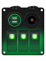 cheap -3-position green light switch panel multi-function panel car charging  power socket suitable for 12 / 24 V car RV yacht etc