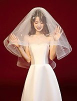 cheap -Two-tier Comtemporary / Stylish Wedding Veil Elbow Veils with Faux Pearl / Trim POLY / 100% Polyester