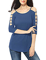 cheap -women's plain long sleeve t shirt off shoulder hollow out string t-shirt top,blue,us size small