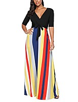 cheap -half sleeve stripes v neck women's maxi dress for party cocktail club casual floor-length dress - black - x-large
