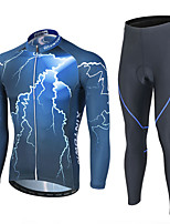 cheap -Men's Long Sleeve Cycling Jersey with Tights Winter Elastane Polyester Blue Bike Clothing Suit Breathable 3D Pad Quick Dry Reflective Strips Sweat-wicking Sports Graphic Mountain Bike MTB Clothing