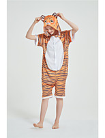 cheap -Adults' Kigurumi Pajamas Tiger Onesie Pajamas Pure Cotton Yellow Cosplay For Men and Women Animal Sleepwear Cartoon Festival / Holiday Costumes