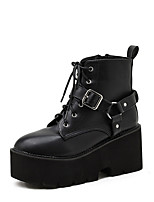 cheap -Women's Boots Chunky Heel Round Toe Punk & Gothic Daily Walking Shoes PU Rivet Buckle Lace-up Solid Colored Black / Mid-Calf Boots