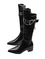 cheap -Women's Boots Chunky Heel Pointed Toe Casual Daily Walking Shoes PU Black / Knee High Boots