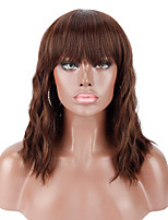 cheap -14 Synthetic Black Wigs with Brown Highlights with Hair Bangs Short Wavy Curly Wig for WomenNatural Looking and Heat Resistant Full Head Hair Replacement Wig for Daily Wear or Costume Wig