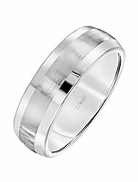 cheap -cobalt metal low dome satin-finish wedding band with silver edges, 7mm, size 9.5