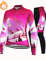 cheap -21Grams Women's Long Sleeve Cycling Jacket with Pants Winter Fleece Spandex Red Bike Fleece Lining Warm Sports Graphic Mountain Bike MTB Road Bike Cycling Clothing Apparel / Stretchy / Athleisure