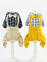 cheap -Dog Jumpsuit Plaid Gentle Casual / Daily Dog Clothes Puppy Clothes Dog Outfits Breathable Yellow Khaki Costume for Girl and Boy Dog Cotton S M L XL XXL