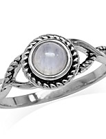 cheap -5mm natural round shape moonstone 925 sterling silver rope solitaire ring size 7