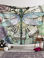 cheap -Wall Tapestry Art Deco Blanket Curtain Hanging Home Bedroom Living Room Dormitory Decoration Polyester Fiber Still Life Painted Dragonfly Clock