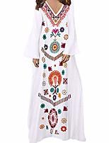cheap -women's casual linen printed long sleeve v-neck maxi dress hem baggy kaftan long dress white